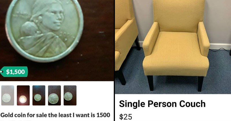 Weird, stupid and funny stuff people posted for sale online | $1,500 Gold coin sale least want is 1500 Fort Worth, TX | Single Person Couch $25 facebook marketplace online shopping