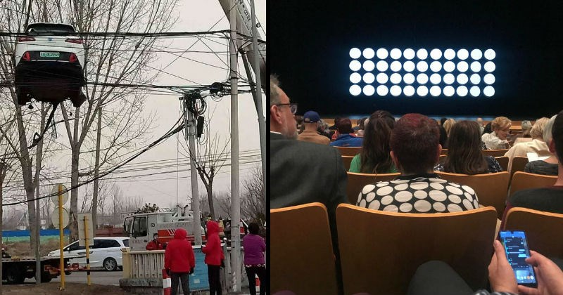 Rare unlikely moments and coincidences that go against the odds | car stuck in electricity power lines high above the ground | woman in movie theater wearing a shirt with the same pattern being projected on the screen