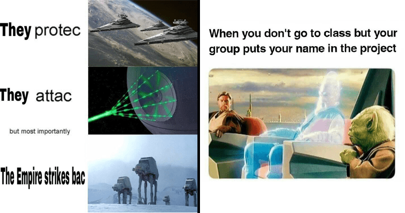 funny star wars memes | They protec They attac but most importantly Empire strikes bac | don't go class but group puts name project jedi council where one of the participants is a hologram