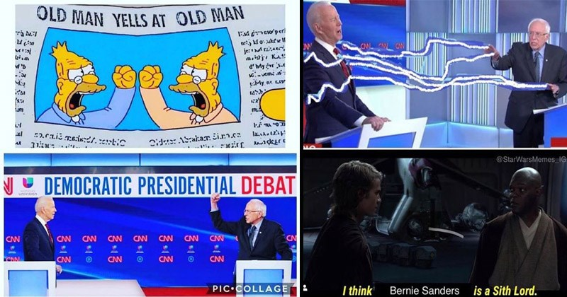 Funny memes and tweets about last night's democratic debates | OLD MAN YELLS AT OLD MAN E4 6nco'peri je:d raaer mistje Ku: d'hMy vr .e My ne AV :2.raii msindt.tetic la.d12ip Dide: ASrarar. Eirn.cm DEMOCRATIC PRESIDENTIAL DEBAT ncIAL univision CAN TETETI CNN CNN CNN CN CAN CNN CNN CNN PIC•COLLAGE | CNL CN CW @StarWarsMemes_IG think Bernie Sanders is Sith Lord.