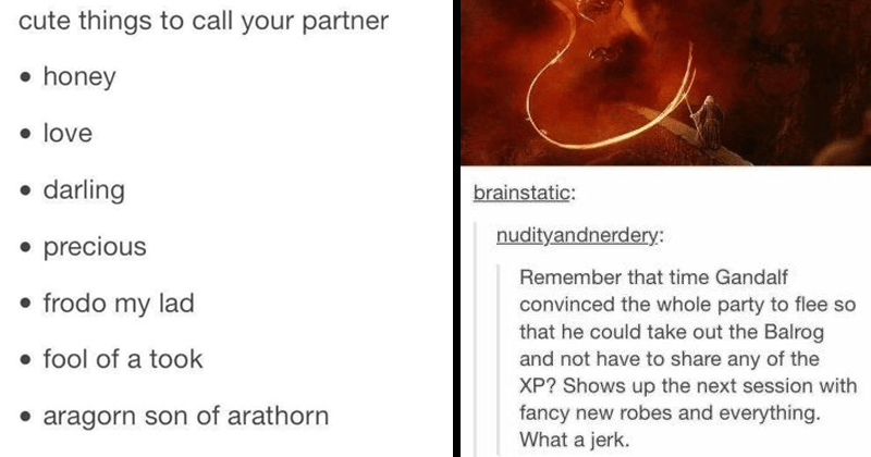 Funny Tumblr posts about Lord of the rings | bcfurs: tennants-hair: cute things call partner honey love darling precious frodo my lad fool took aragorn son arathorn manflesh o smaug chiefest and greatest calamities po-ta-toes | brainstatic: nudityandnerdery: Remember time Gandalf convinced whole party flee so he could take out Balrog and not have share any XP? Shows up next session with fancy new robes and everything jerk. Best literary analysis ever.