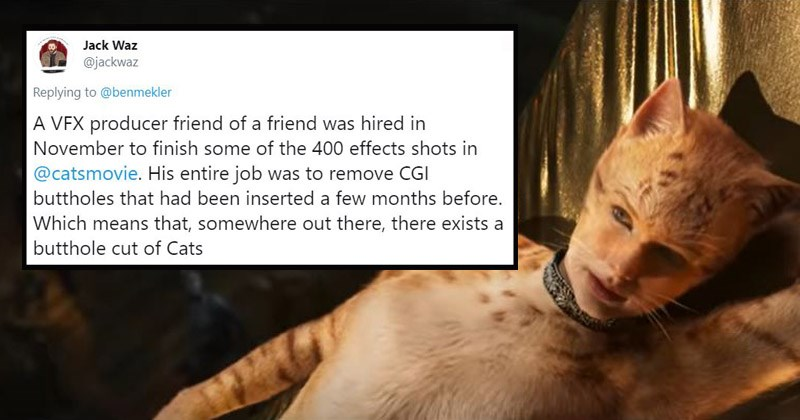 Funny tweets in response to there being a version of the movie 'Cats' that shows the characters' buttholes   Jack Waz @jackwaz Replying benmekler VEX producer friend friend hired November finish some 400 effects shots catsmovie. His entire job remove CGI buttholes had been inserted few months before. Which means somewhere out there, there exists butthole cut Cats