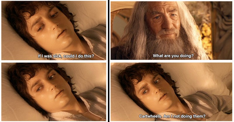 Funny mashup images of Lord of the Rings and Parks and Rec | bed ridden frodo talking to gandalf are doing? Cartwheels. Am I not doing them?