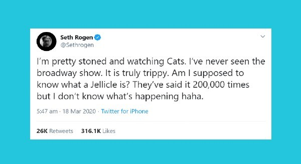 "Seth Rogen Live Tweeting ""Cats"" on Broadway 