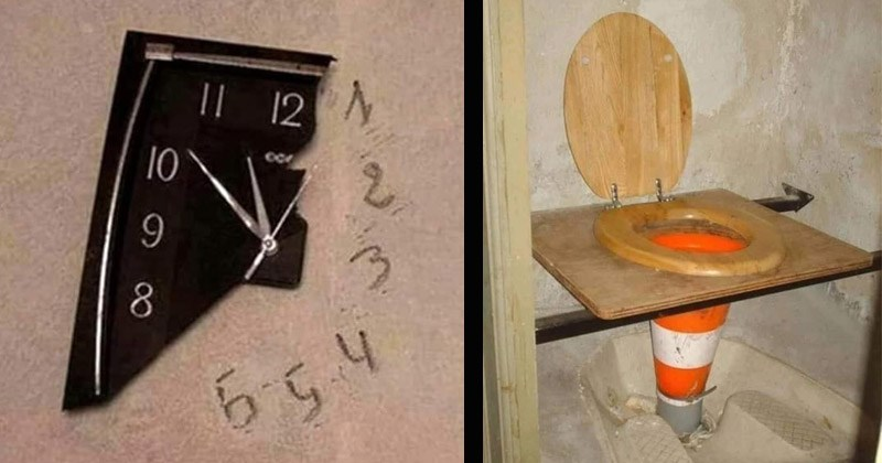 Funny and cringey pictures of cursed life hacks | clock half broken with the missing numbers written on the wall | toilet made from a wooden toilet seat on top of an orange traffic cone