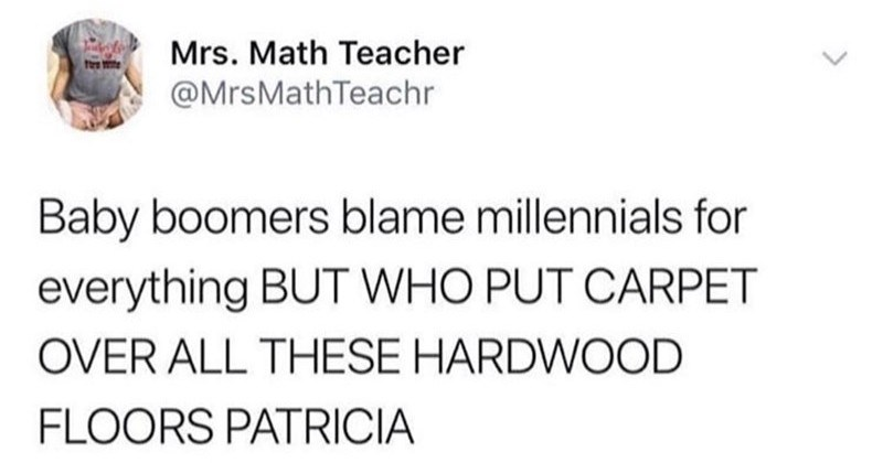 A collection of memes and tweets about the struggles of adulting | tweet by Mrs. Math Teacher @MrsMathTeachr Baby boomers blame millennials everything BUT WHO PUT CARPET OVER ALL THESE HARDWOOD FLOORS PATRICIA 5/3/18, 8:36 am