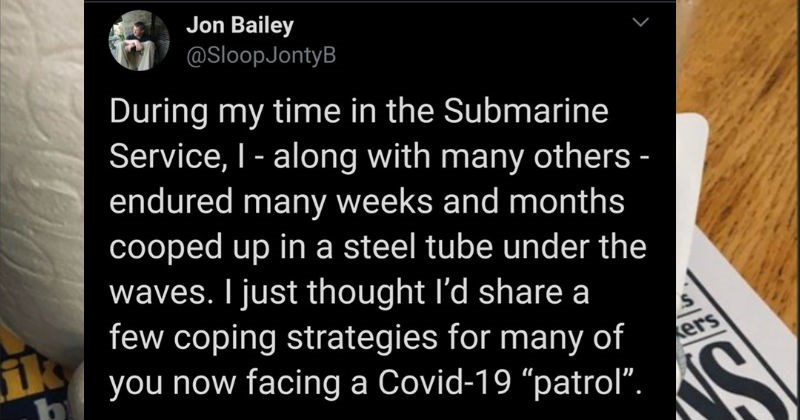 "A submarine service member shares his tips for people dealing with isolation | Jon Bailey @SloopJontyB During my time Submarine Service along with many others endured many weeks and months cooped up steel tube under waves just thought share few coping strategies many now facing Covid-19 ""patrol Purell ADVANCED HYGIENIC HAND RUB GEL HYDRO-ALCOOLIQUE POUR LES MAINS GEL ALCOHÓLICO PARA DESINFECCIÓN HIGIÉNICA DE MANOS ANTISÉPTICO PARA PIEL SANA GEL ALCOÓICO ANTISSÉPTICO PARA MÃOS ONTSMETTE Co tish S"