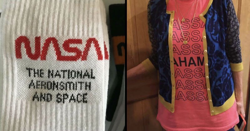 Stupid and dirty clothes design fails | white socks NASA NATIONAL AERONSMITH AND SPACE | red shirt under jacket that appears to say ASS ASS AHAM ASS ASS ASS