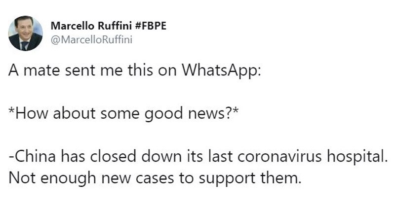 Interesting Twitter thread about the good news surrounding coronavirus | Marcello Ruffini #FBPE @MarcelloRuffini mate sent this on WhatsApp about some good news China has closed down its last coronavirus hospital. Not enough new cases support them Doctors India have been successful treating Coronavirus. Combination drugs used: