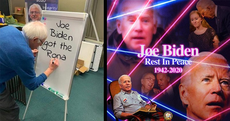 Funny memes and tweets that make fun of Joe Biden seemingly 'disappearing' from the public eye during the coronavirus pandemic | Bernie Sanders writing on a whiteboard 2020 Integrity Joe Biden got Rona UP SPAPS | Joe Biden Rest Peace- 1942-2020 NUON lasers