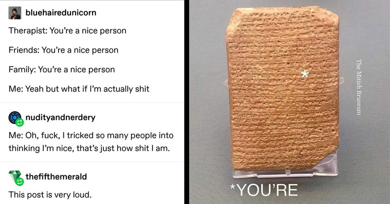 Funny random memes   bluehairedunicorn Therapist nice person Friends nice person Family nice person Yeah but if l'm actually shit nudityandnerdery Oh, fuck tricked so many people into thinking l'm nice s just shit am. thefifthemerald This post is very loud   Mitish Bruseum ancient tablet