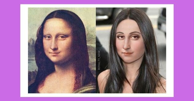 instagram artist photoshop historical figures female royalty past today history | Mona Lisa original painting and how she would look like in modern times with straightened hair and makeup