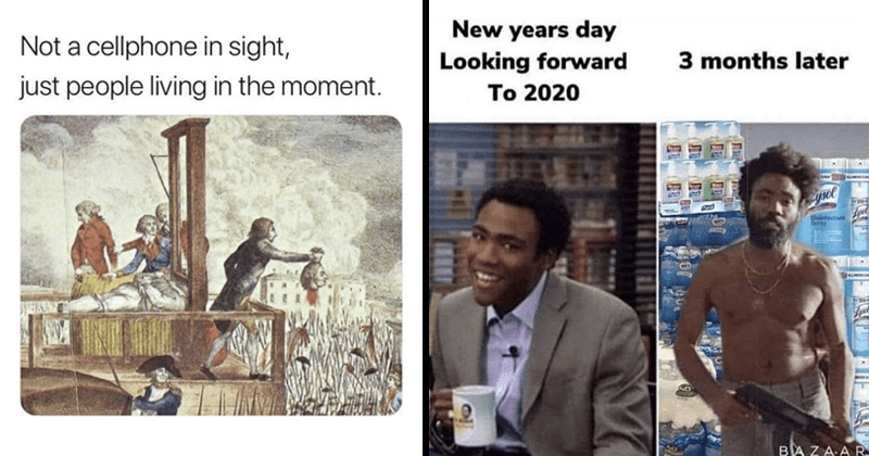 Funny random memes | Not cellphone sight, just people living moment. medieval classic painting depicting a beheading scene guillotine | New years day Looking forward 3 months later 2020 Disntectant BAZAAR Donald Glover Childish Gambino