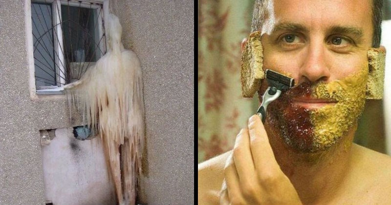 Freaky, weird and bizarre cursed images | human shaped frozen chunk of ice stuck to the wall outside a window looking like a person standing | man shaving his beard using peanut butter and jelly instead of shaving cream and bread over his ears