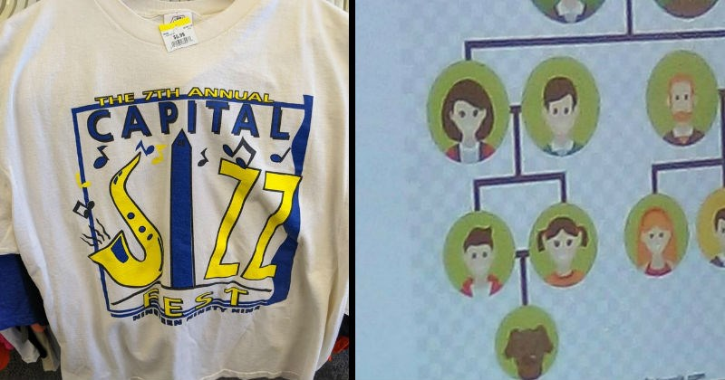 Funny, stupid, creepy and dirty design fails | family tree arranged so that a brother and sister produce a dog offspring | shirt that says the 7th annual capital jazz jizz fest
