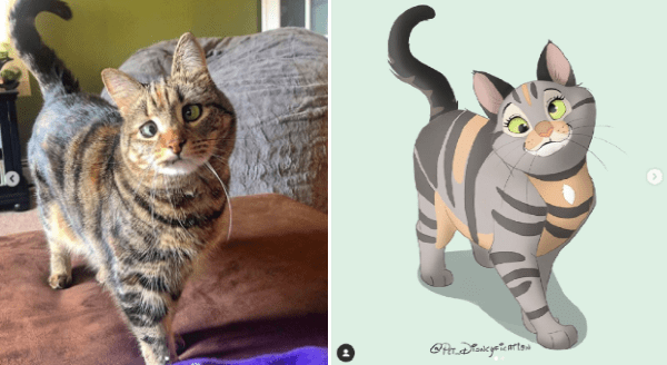 Illustrator Turns Your Pet Photos Into Disney Characters | art cartoon illustration drawing of a funny looking striped cat with crossed eyes in the cartoonish style of a disney character
