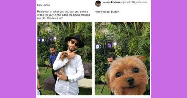 twitter photoshop James Fridman bad funny tweets legend master talent troll trolling | Anastacio @gmail.com James Fridman <fjamie013@gmail.com> Hey Jamie Really fan do, can please erase guy back, he kinda messes my pic. Thanks lot! Here go, buddy.