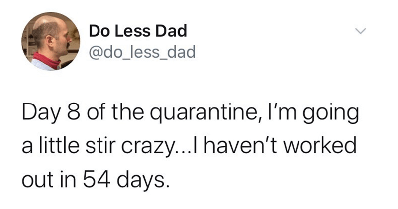 Funny tweets, twitter memes, quarantine, quarantine memes, dank memes, relatable | Do Less Dad @do_less_dad Day 8 quarantine, l'm going little stir crazy haven't worked out 54 days. coronavirus covid-19