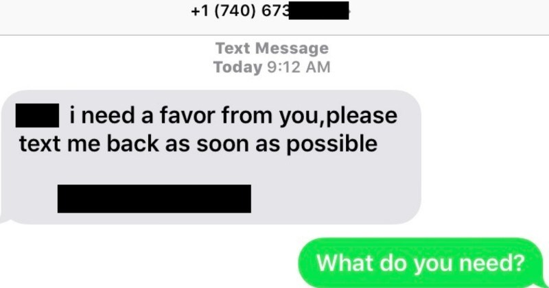 Dude messes with text message scammer in hilarious ways | +1 (740) 673 Text Message Today 9:12 AM need favor please text back as soon as possible do need?