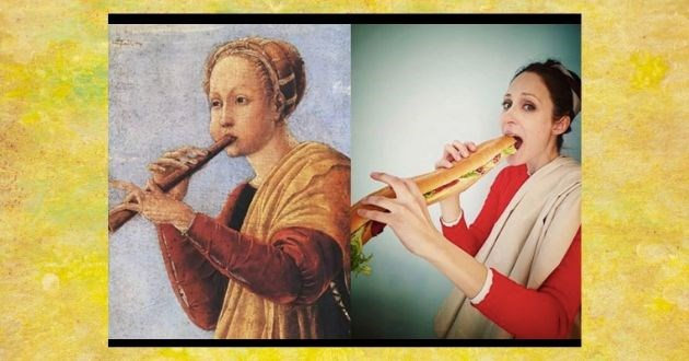 famous painting reenact quarantine coronavirus COVID-19 classical art memes | painting artwork person playing a flute vs pic of a woman taking a bite out of a long sandwich