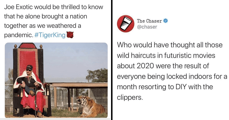 Funny and fresh tweets, covid-19, quarantine tweets, joe exotic, carole baskin | Joe Exotic would be thrilled know he alone brought nation together as weathered pandemic TigerKing man wearing a cape sitting on a throne beside a tiger | Chaser @chaser Who would have thought all those wild haircuts futuristic movies about 2020 were result everyone being locked indoors month resorting DIY with clippers. 8:02 pm 27/3/20 Twitter Web App