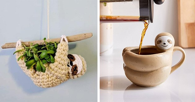 sloth sloths aww cute animals items earrings mugs accessories | art and crafts wool woven sloth hanging from a branch and holding a plant | ceramic mug shaped like a sloth doing a hugging gesture while coffee is being poured between its arms