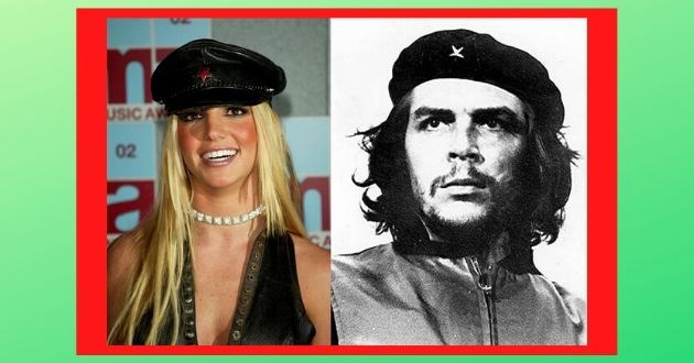 britney spears dressed leaders facebook funny pics revolution costume | Britney Spears wearing a black Breton hat with a red star next to the iconic black and white photo of Che Guevara