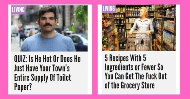 reductress funny headlines satire news women funny | LIVING QUIZ: Is He Hot Or Does He Just Have Town's Entire Supply Toilet Paper would say is his biggest virtue? | LIVING 5 Recipes With 5 Ingredients or Fewer So Can Get Fuck Out Grocery Store Vamoose, bitch!