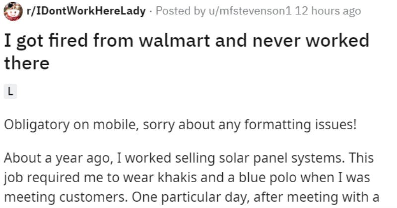 """Story of a guy who didn't work at Walmart but got """"fired"""" by a manager 