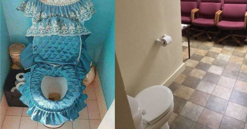 A carefully curated collection of different, weird toilets | toilet padded with princess blue ruffles fabrics and lace | toilet facing an open space with rows of chairs for viewers