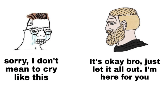top ten 10 wholesome memes daily | sorry don't mean cry like this 's okay bro, just let all out here crying zoomer wojack and nordic guy gamer