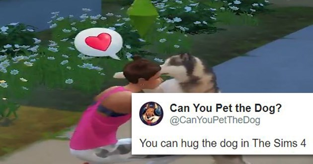 video games pet dogs animals cats twitter tweets lol funny | you can hug the dog in the sims 4 3d character crouching and hugging a husky dog and a thought bubble with a heart in it