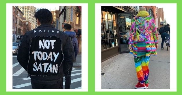 New York behind photography city jacket coat message pedestrians artist street art behind instagram | Native not today Satan jean jacket | colorful rainbow colored outfit