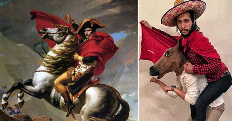 Museum asks people to recreate art | Napoleon Crossing the Alps painting by Jacques-Louis David recreated by a man wearing a sombrero and a red blanket riding a person in a horse maks