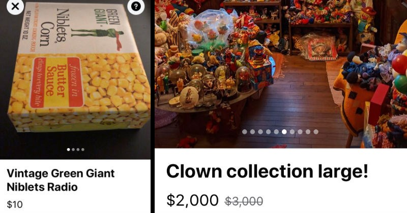 A collection of weird moments from Facebook marketplace | Vintage Green Giant Niblets Radio Wakefield, MA GREEN GIANT Niblets, Corn frozen Butter Sauce clings every bite FLAVOR TIGHT COOKING POUCH | Clown collection large 2,000 $3,000 Listed over week ago Pelham, NH