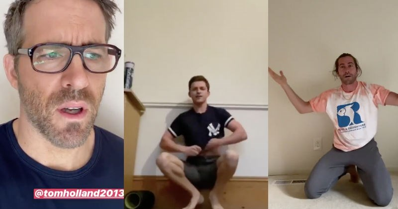 Ryan Reynolds responds to Tom Holland's handstand video challenge | Ryan Reynolds in glasses looking exasperated | Tom Holland and Jake Gyllenhaal crouching beside walls