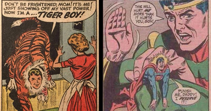 Funny vintage comics that were taken out of context | DON'T BE FRIGHTENED, MOM!'S JUST SHOWING OFF MY VAST POWER! NOW TIGER BOY! | THIS WILL HURT MORE THAN HURTS SON PUNISH DADDY! I DESERVE !
