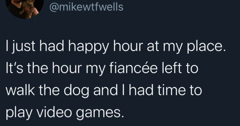 A collection of funny and random tweets | Mike Wells @mikewtfwells just had happy hour at my place s hour my fiancée left walk dog and had time play video games.