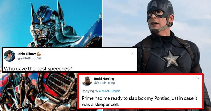 Twitter users debate whether Captain America or Optimus Prime was more inspirational | Idris Elbow @YalIAlILuvCris Who gave best speeches? Redd Herring @ReddHerring_ Replying YallAl|LuvCris Prime had ready slap box my Pontiac just case sleeper cell.