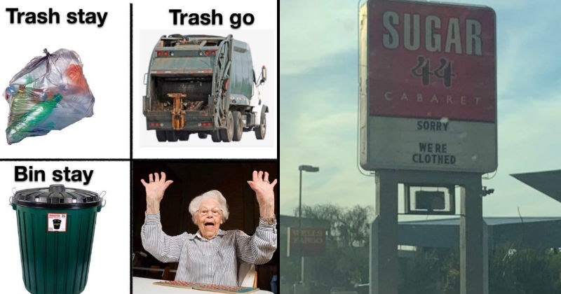 funny clever puns and wordplay | Trash stay Trash go Bin stay bingo old lady celebrating | SUGAR 44 CABARET SORRY WE'RE CLOTHED CLOSED EARGIO STRW