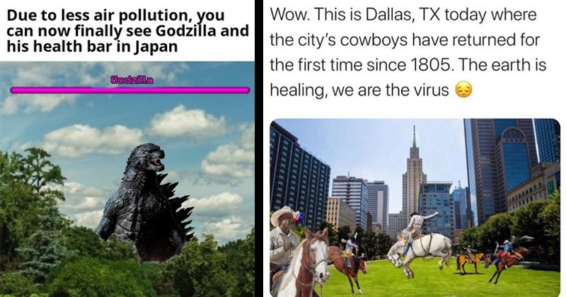 Funny dank memes about things that are returning due to there being less pollution | Due less air pollution can now finally see Godzilla and his health bar Japan Godzilla | Deric @DericRichardson Wow. This is Dallas, TX today where city's cowboys have returned first time since 1805 earth is healing are virus