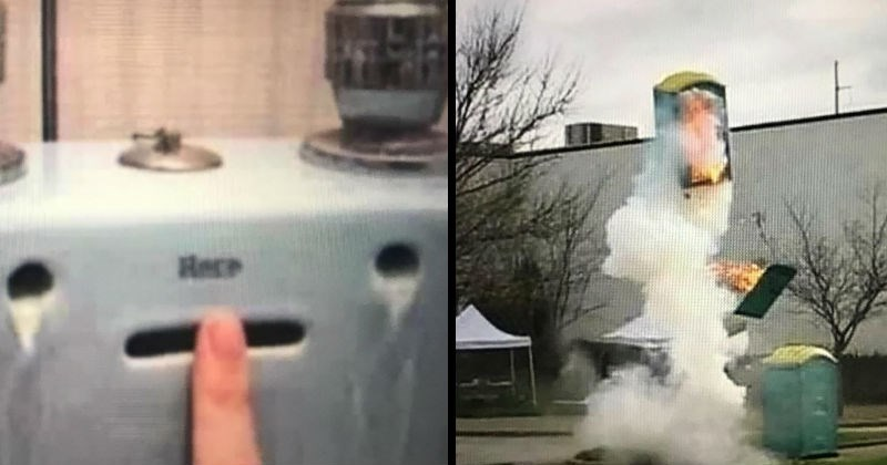 Weird, funny and wtf images | exploding porta potty shooting in the air while burning from the inside | machine that looks like a crying face and the word help written on it