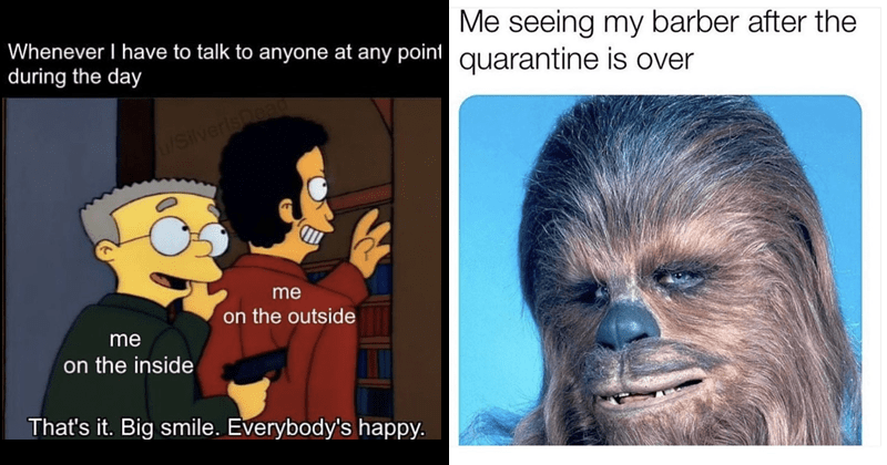 Funny random memes, marvel memes, dank memes, star wars memes, nerdy memes, chewbacca memes, coronavirus memes, covid-19, quarantine memes, relatable memes | Whenever have talk anyone at any point during day u/SilverlsDea on outside on inside 's Big smile. Everybody's happy | chewbacca star wars seeing my barber after quarantine is over