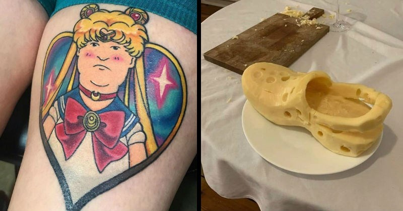 Weird, WTF and strange creations that are well designed | tattoo of bobby from king of the hill as sailor moon | classic croc shoe carved out of cheese