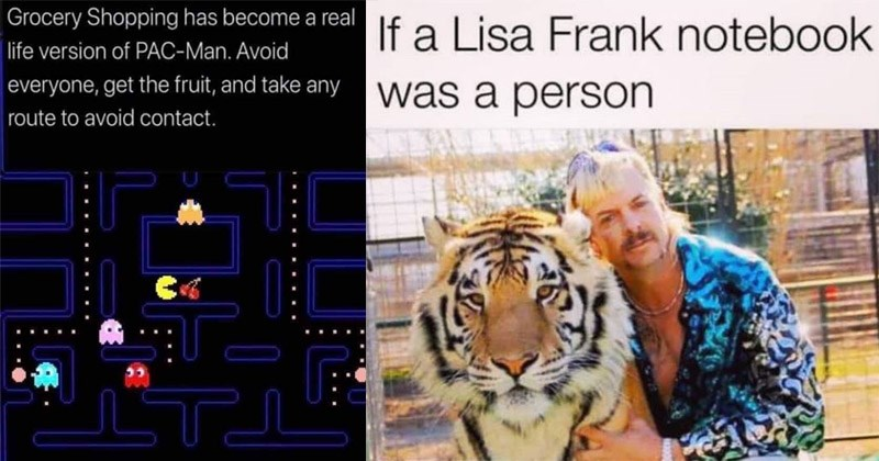 Funny memes about the 1980s and 1990s | pacman Grocery Shopping has become real life version PAC-Man. Avoid everyone, get fruit, and take any route avoid contact | If Lisa Frank notebook person tiger king joe exotic