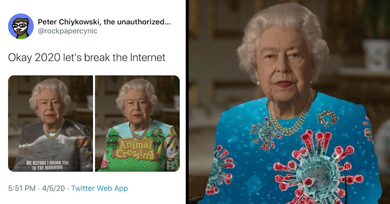 Funny photoshop memes, queen elizabeth, coronavirus, green dress, twitter thread, twitter memes | Peter Chiykowski unauthorized rockpapercynic Okay 2020 let's break Internet Animal Crossing BEFORE DRINK TEA MORNING | queen elizabeth with a coronavirus print