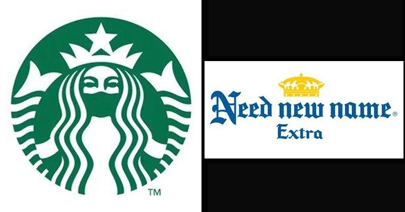 Funny brand logos that reflect social distancing | Starbucks mermaid logo wearing a face mask | Corona beer Need new name. Extra