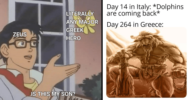 Funny greek mythology memes, dank memes | Is this a pigeon? LITERALLY ANY MAJOR GREEK ZEUS HERO IS THIS MY SON? | Day 14 Italy Dolphins are coming back* Day 264 Greece: minotaur
