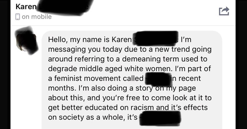 "Funny Facebook messages between a ""Karen"" and the admin of a Facebook group that makes fun of ""Karens"" 