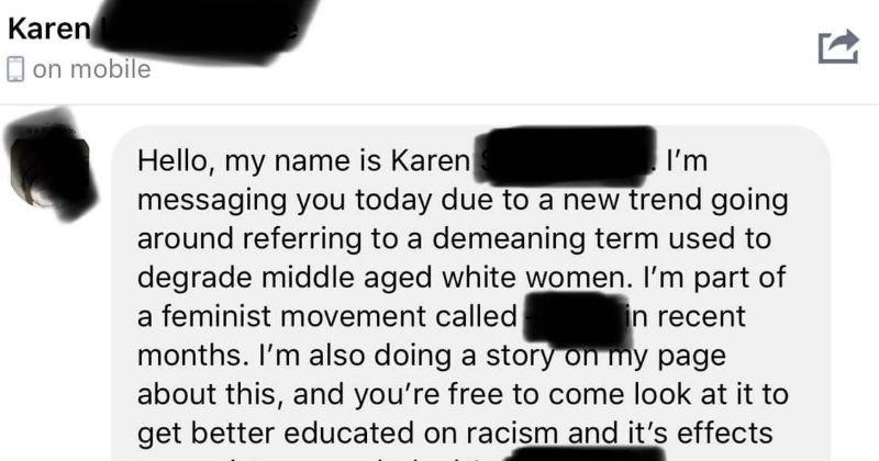 Correspondence with Karen meme page.